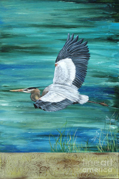 Emboss Wall Art - Painting - Great Blue Heron 3 by Jean Plout