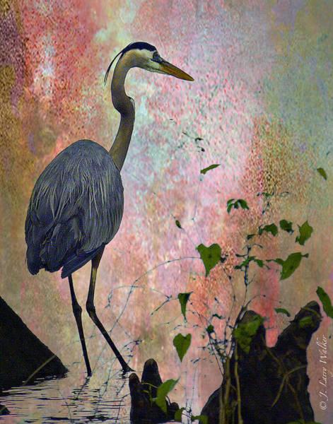 Cypress Digital Art - Great Blue Heron Among Cypress Knees by J Larry Walker