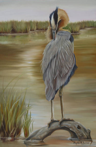 Wall Art - Painting - Great Blue Heron At Half Moon Island by Phyllis Beiser