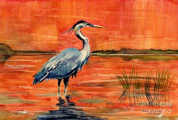 Great Blue Heron Wall Art - Painting - Great Blue Heron In Marsh by Melly Terpening