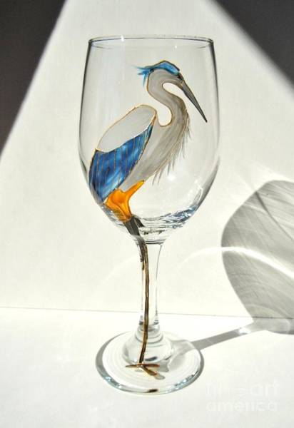Wall Art - Glass Art - Great Blue Heron Wineglass by Pauline Ross