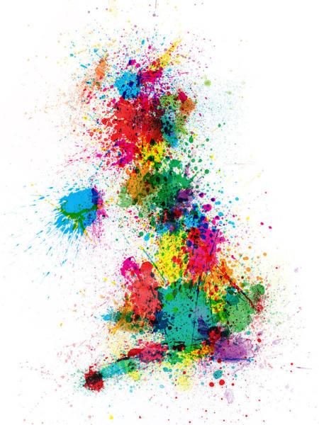 Splash Digital Art - Great Britain Uk Map Paint Splashes by Michael Tompsett