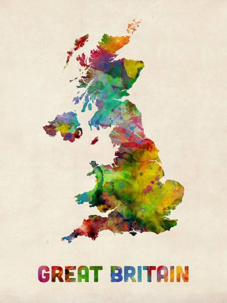 Wales Wall Art - Digital Art - Great Britain Watercolor Map by Michael Tompsett