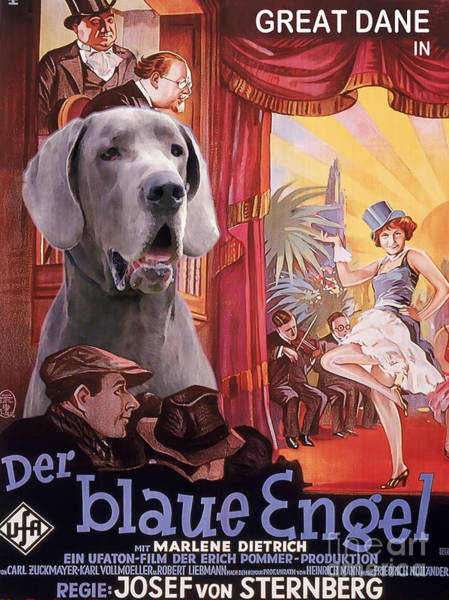 Engels Painting - Great Dane Art Canvas Print - Der Blaue Engel Movie Poster by Sandra Sij