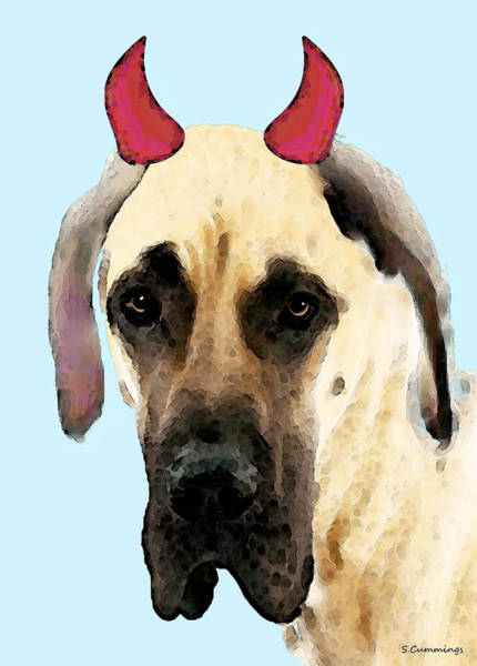 Great Dane Painting - Great Dane Art - Ok Maybe I Did by Sharon Cummings