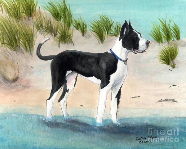 Black Great Dane Painting - Great Dane Dog Sand Dune Canine Cathy Peek Animal Art  by Cathy Peek