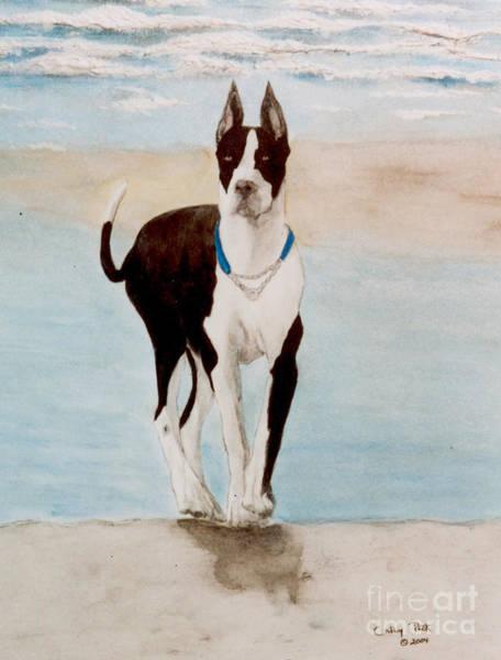 Black Great Dane Painting - Great Dane Dog Surf Beach Cathy Peek Animal Art  by Cathy Peek