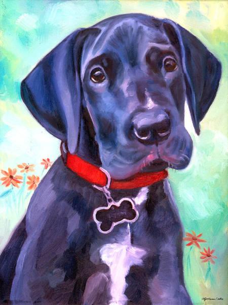 Black Great Dane Painting - Great Dane Puppy Sweetness by Lyn Cook