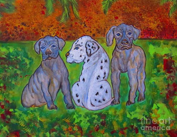 Black Great Dane Painting - Great Dane Pups by Ella Kaye Dickey