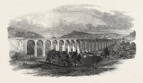 Wall Art - Drawing - Great Dee Viaduct, The Shrewsbury Chester Railway by English School