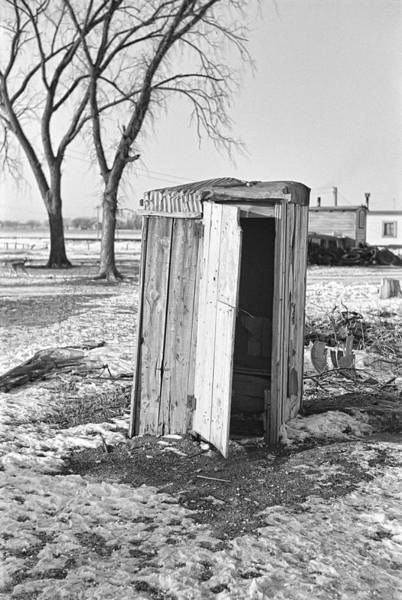 Wall Art - Photograph - Great Depression Shantytown Outhouse 1936 by Daniel Hagerman
