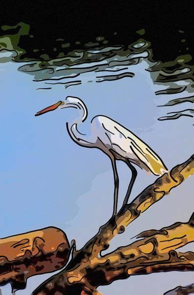 Great Egret Fishing Abstract Art Print