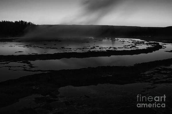 Photograph - Great Fountain Geyser Black And White by Mark Kiver