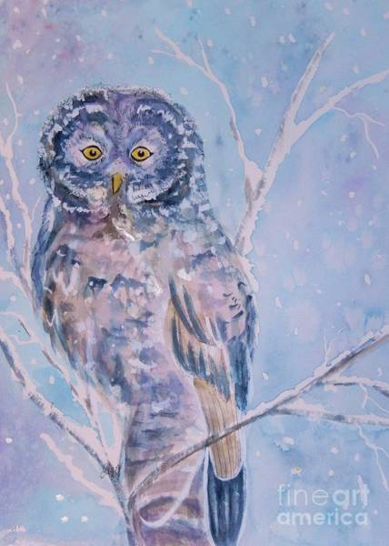 Snow Owl Painting - Great Gray Owl In Blue And Purple by Ellen Levinson