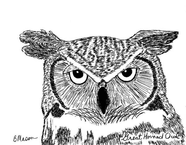 Hooter Drawing - Great Horned Owl by Becky Mason