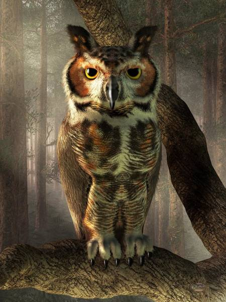 Digital Art - Great Horned Owl by Daniel Eskridge