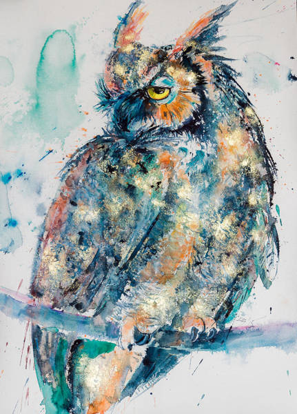 Owl Painting - Great Horned Owl In Gold by Kovacs Anna Brigitta