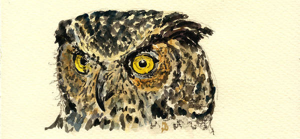 Nocturnal Wall Art - Painting - Great Horned Owl by Juan  Bosco