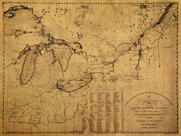 Rivers Mixed Media - Great Lakes And Canada Vintage Map On Worn Canvas Circa 1812 by Design Turnpike