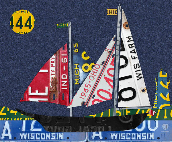Sailboat Mixed Media - Great Lakes States Sailboat Recycled Vintage License Plate Art by Design Turnpike