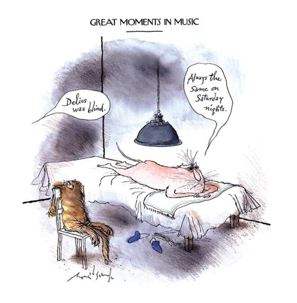 Tan Skin Drawing - Great Moments In Music 'delius Was Blind.' by Ronald Searle
