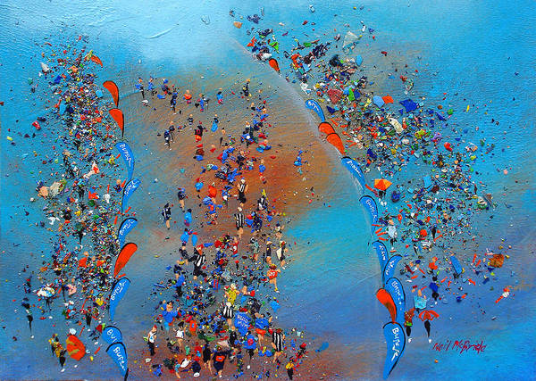 Jogging Painting - Great North Run by Neil McBride