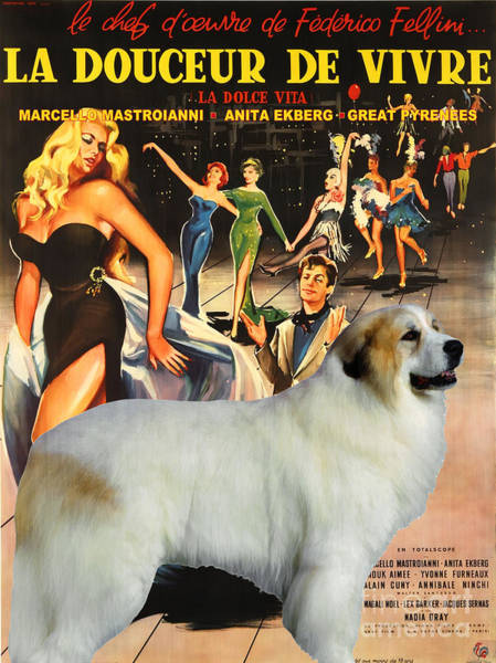 Pyrenees Painting - Great Pyrenees - Pyrenean Mountain Dog Art Canvas Print - La Dolce Vita Movie Poster by Sandra Sij