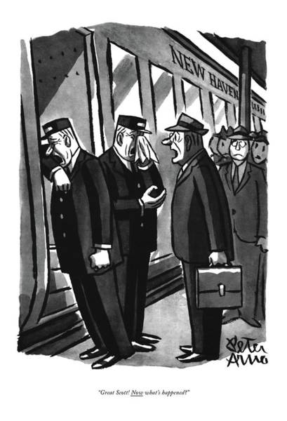 Commuter Rail Wall Art - Drawing - Great Scott! Now What's Happened? by Peter Arno