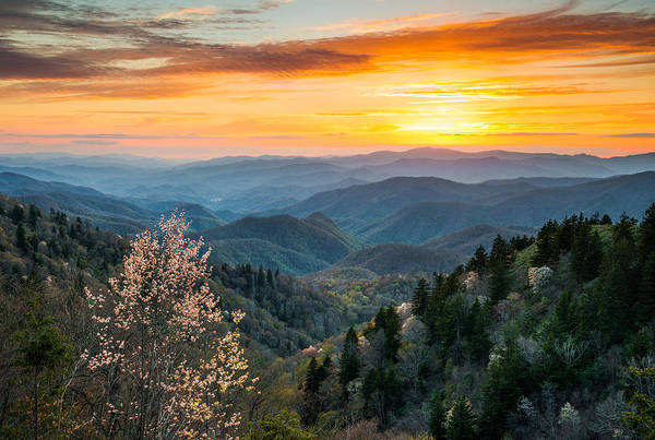 Smokies Photograph - Great Smoky Mountains Spring Sunset Landscape Photography by Dave Allen