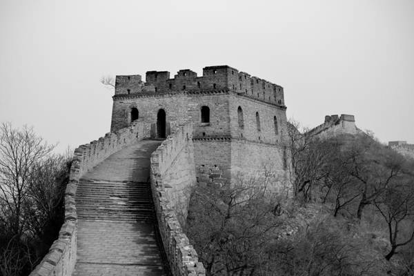 Photograph - Great Wall In Black And White by Songquan Deng