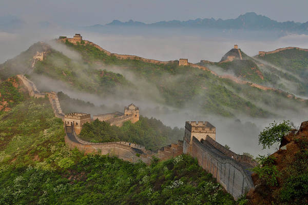 Great Wall Of China On A Foggy Morning Art Print by Darrell Gulin
