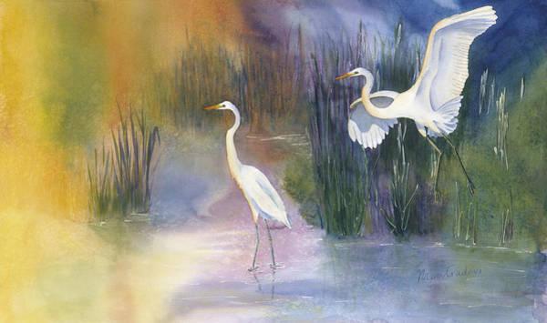 Paramhansa Yogananda Painting - Great White Egrets by Mantradevi LoCicero