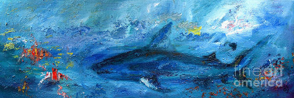 Painting - Great White Shark Coral Reef Ocean Life by Ginette Callaway