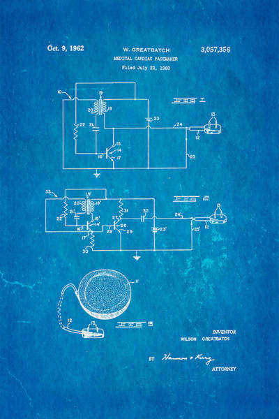 Saving Wall Art - Photograph - Greatbatch Cardiac Pacemaker Patent Art 1962 Blueprint by Ian Monk