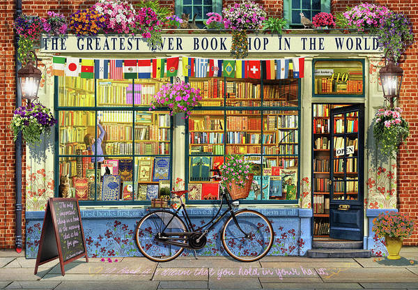 Wall Art - Painting - Greatest Bookshop In The World by MGL Meiklejohn Graphics Licensing