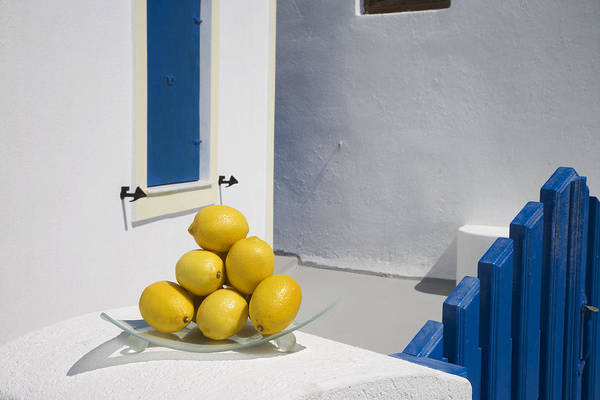 Alfresco Wall Art - Photograph - Greece, Cyclades, Santorini, Oia,lemons by Tips Images