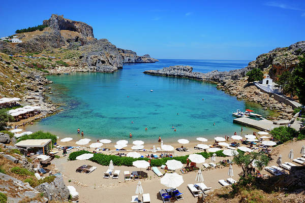 Sunshade Photograph - Greece, Dodecanese, Rhodes, Lindos, St by Tuul & Bruno Morandi