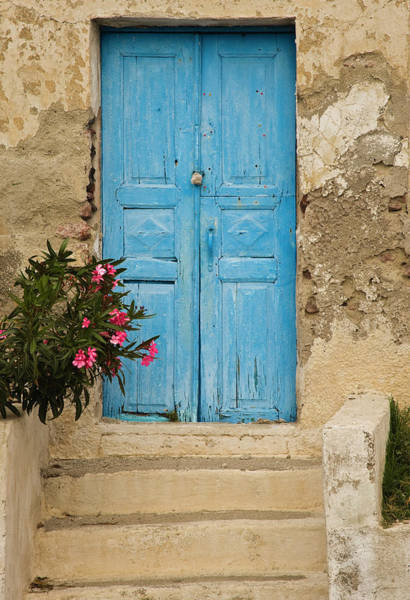Wall Art - Photograph - Greece, Old House, Door, Blue by George Theodore