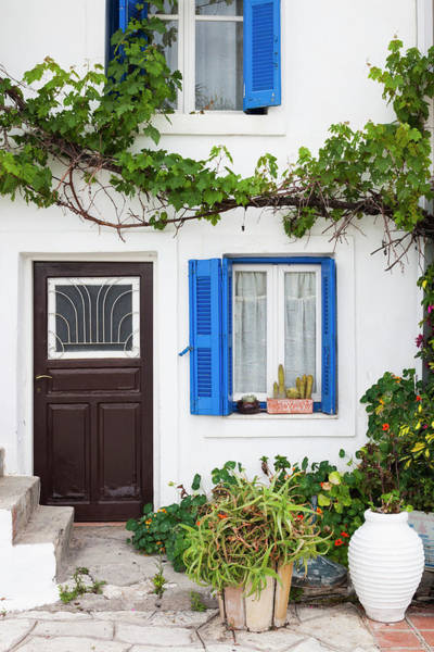 Greece Photograph - Greece, Parga, Harborfront House Detail by Walter Bibikow