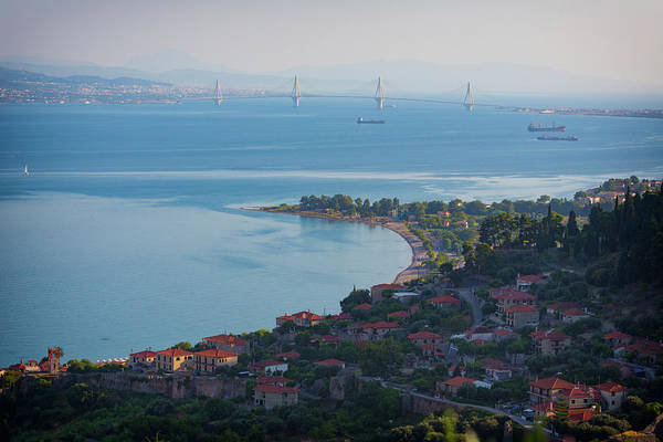 Peloponnese Photograph - Greece. The Rioantirrio Bridge by Panoramic Images