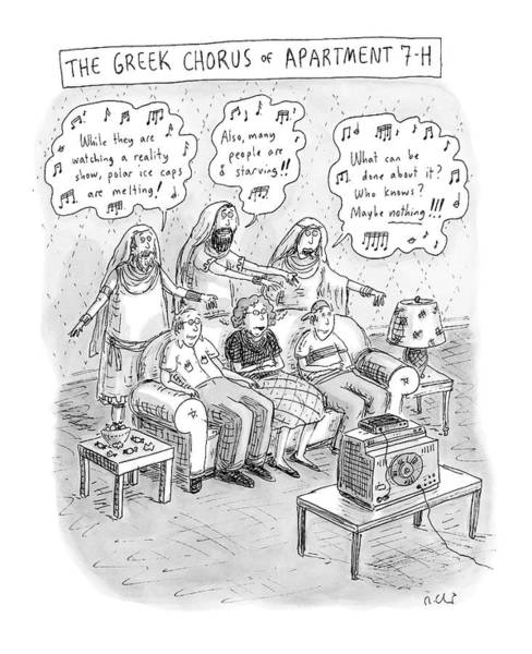 7 Drawing - Greek Chorus Of Apartment 7-h by Roz Chast