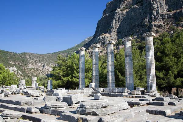 Ancient Greek Photograph - Greek Column Ruins At Priene by Sean Caffrey