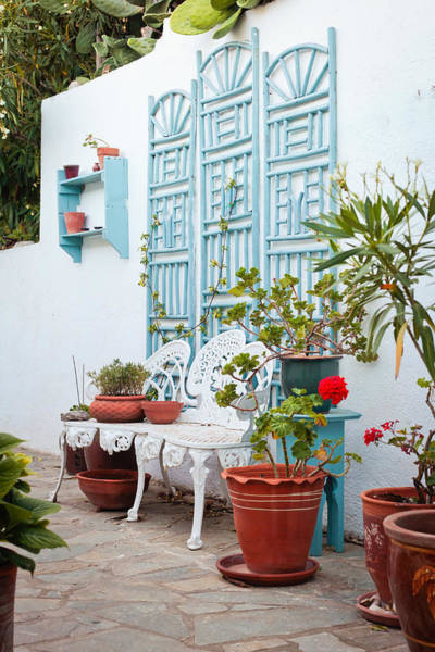 Clay Pot Photograph - Greek Courtyard by Tom Gowanlock