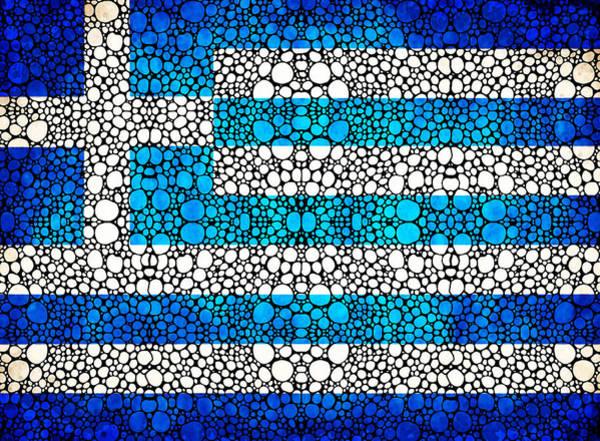 Painting - Greek Flag - Greece Stone Rock'd Art By Sharon Cummings by Sharon Cummings
