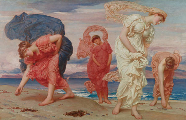 Nymph Painting - Greek Girls Picking Up Pebbles By The Sea by Frederic Leighton