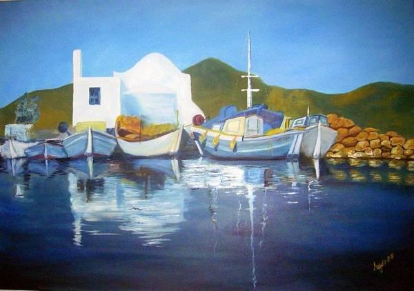 Lagos Painting - Greek Island by Evangelos Lagos