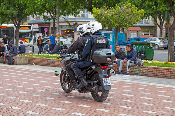 Greek Motorcycle Police Officers Art Print by Gwengoat
