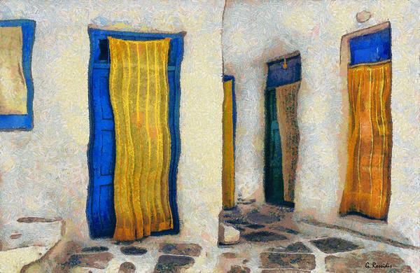 Amorgos Painting - Greek Village B by George Rossidis