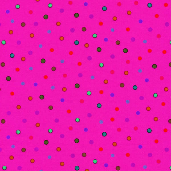 Girly Photograph - Green And Blue Polka Dots On Pink Fabric Background by Keith Webber Jr