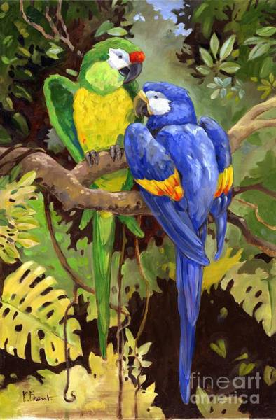 Tropical Plants Painting - Green And Blue Tropical Macaw by Paul Brent